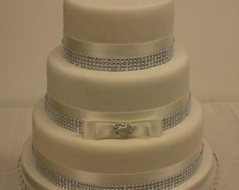 Wedding Cake Double Love Heart Topper with Rhinestone Buckle Satin & Diamante Ribbon Cake Topper Set