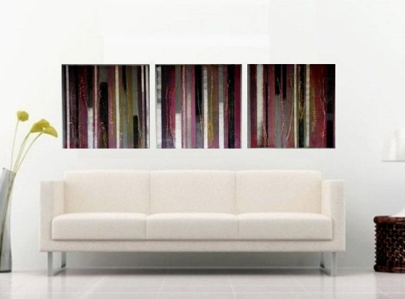 Wall Decor Horizontal : Horizontal wall decor striped abstract paintingbright