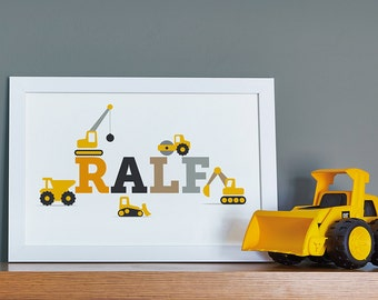 Construction Themed Personalised Name Print