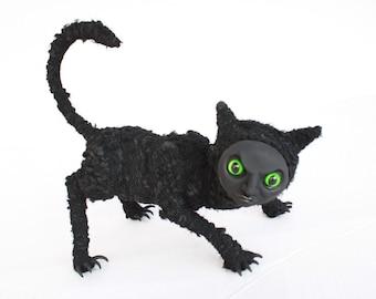 Mr Scratch - Ooak halloween black cat monster sculpture