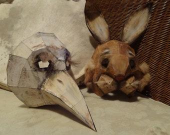 DIY Halloween mask, Plague Doctor mask, Paper bird mask, bird costume, Raven, Crow mask, Instant Download
