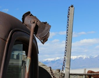 Old Truck Side Mirror, vintage truck photograph, snow capped mountains photo, fine art photograph, horse, antique truck photo