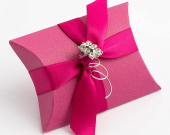 10 Hot Pink Silk Pillow Boxes