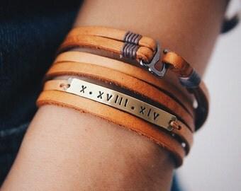 Leather Wrap Bracelet, Leather Blank Bar Bracelet, Stamp Bracelet, Inspirational Bracelet, Personalized bracelet, Handstamped jewelry