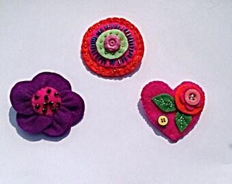 Handcrafted beaded felt Flower Heart Pin Brooch