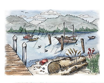 Samish Island, WA - Whimsical Watercolor Art, Blank Greeting Card (A5)