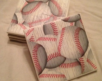 Set Of 4 Decorative Baseball Tile Coasters - Wine, Beer, Drink Coasters - Housewarming Gift