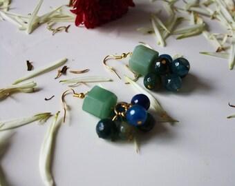 """golden earrings/ semi precious stone green jade / """"isla"""""""
