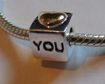 Charm Silver and Gold Plated ILOVE YOU charm fits Pandora bracelet (925, Sterling silver, bead, pendant, chamilia) S6