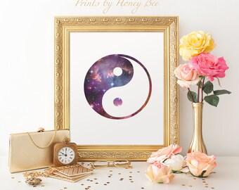 Yin Yang Print, Yin Yang Art, Yin Yang, Printable Wall Art, Home Decor, Space Print, Yin Yang Wall Art, Wall Art, Wall Decor, Art Print,8x10