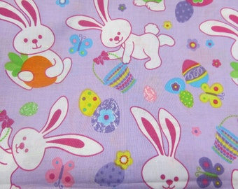 Easter fabric by the yard - Bunnies and Easter eggs - Sewing project - Easter project - 1yd