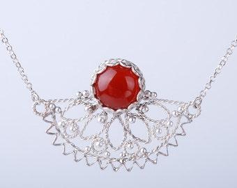 Carnelian Orange - Red Filligree Silver Pendant