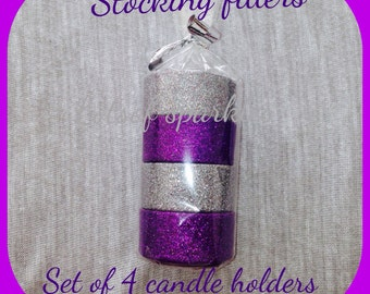 Set of 4 glittered candle holders inc tealights