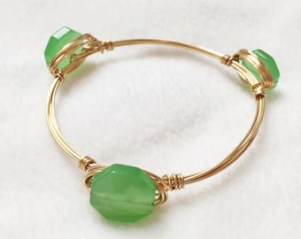 Green octagon wire bangle bracelet silver gold jewelry