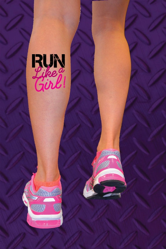 run like a girl temporary tattoo running tattoo race marathon