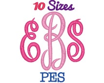 Master Circle Monogram Embroidery Font Machine Embroidery Fonts PES Format File Pack Set 10 Sizes Digital Design Instant Download