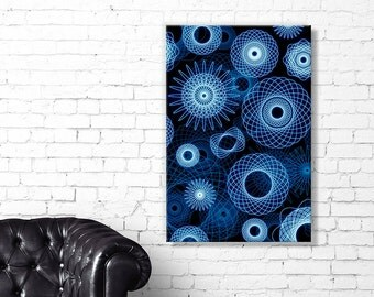 Spiral Time - CANVAS 'Stretched Frame' Wall Art, Premium Quality - Spirograph Style Retro Illustration - FREE P&P on all canvas sizes.