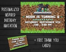 "Minecraft invitation personalized 4x6 or 5x7"", Birthday invitation, Inspired by Minecraft, Custom printable card"