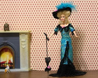 Babrie dress Barbie clothes Handmade barbie Blue crochet sequins Barbie gown Jeweled Theatrical Costume 1899