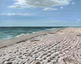 Sandy Beach, Giclee Print on Canvas, Realism, Wall Art, Original Art by Cindy Allbritton