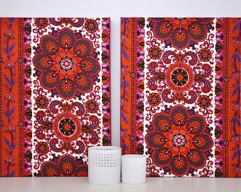 Pair of Vintage Fabric-Covered Canvases / Wall Decor