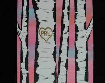 Birch Tree Canvas Painting with Initials 12x16
