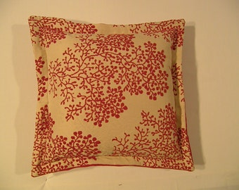 Australian made cushion in red blossom fabric.