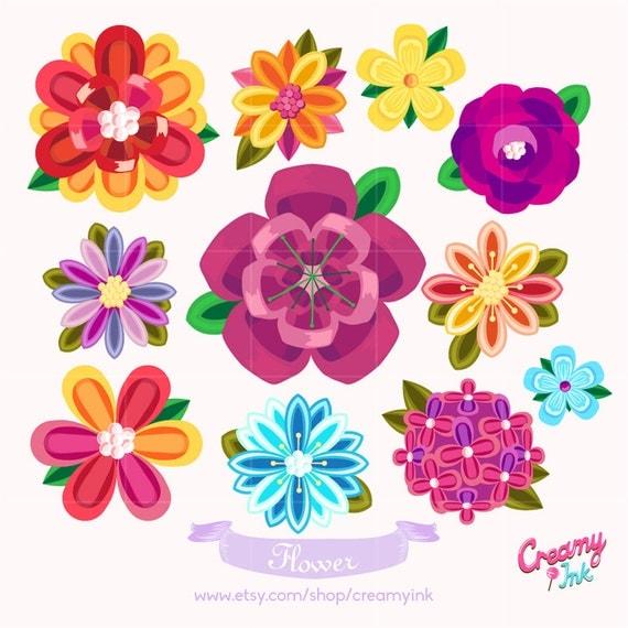 beautiful flower digital vector clip art floral digital clipart rh catchmyparty com black and white flower design clipart black and white flower design clipart