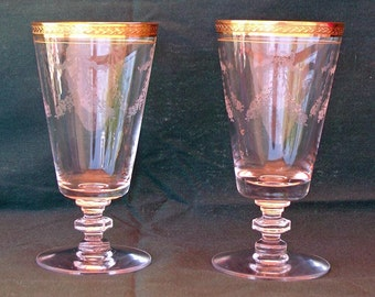 Tiffin Glasses Set of Two 4 5/8 in. Juice Glasses -- Bouquet Pattern