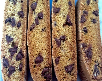 Belgian Chocolate Chip Biscotti -1 Pound Cookies-Soft Baked-Italian Cookies