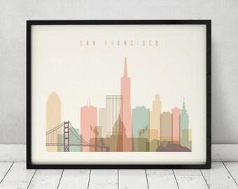 San Francisco print, Poster, Wall art, San Francisco skyline, City poster, Typography art, Gift, Home Decor Digital Print, ArtPrintsVicky.