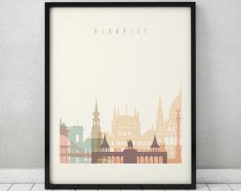 Budapest print, Poster, Wall art, Hungary Budapest skyline, City poster, Typography art, Home Decor, Digital Print, ArtPrintsVicky.