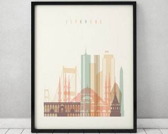 Istanbul print, Poster, Wall art, Turkey cityscape, Istanbul  skyline, City poster, Typography art Home Decor Digital Print ART PRINTS VICKY