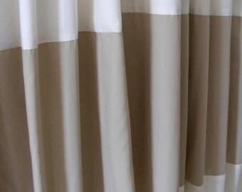Horizontal Striped Curtain Panels Khaki Beige Tan and Cream Pair Lined