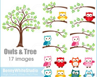 Baby Owls and Tree Clip Art, For Personal and Small Commercial Use. B-0007.