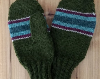 Multicolored Handmade Knitted Mittens