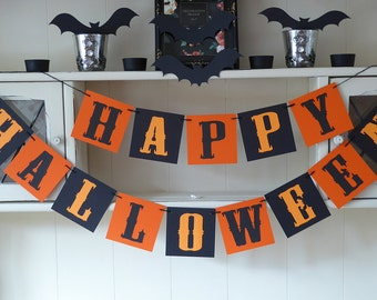 Happy Halloween bunting banner, scary Halloween party decoration in orange and black, Gothic