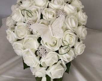 Ivory teardrop bridal bouquet