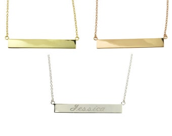Personalized .925 Sterling Silver Horizontal Bar Name Necklace