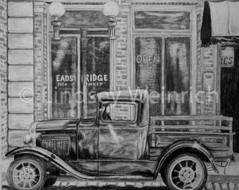 Antique Truck Drawing PRINT