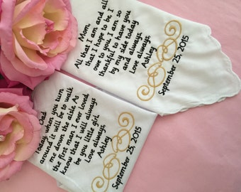 Set of two personlized handkerchiefs wedding for mother and father of the bride
