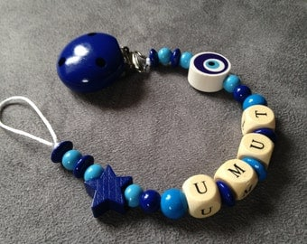 Pacifier clip-pacifier beads made of wood with name: Umut