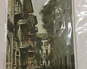 1968 Don Davey French Quarters New Orleans Color Print Matted