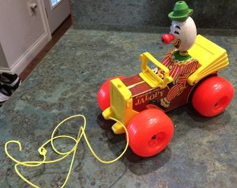 Fisher Price Clown Jalopy Pull Toy 1960 Era
