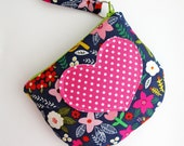 Zipper Pouch | Zip Pouch with Heart Applique | Storage Bag with Zipper