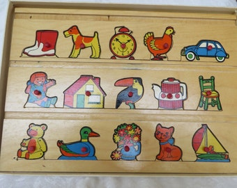 Vintage 1960's Wooden Simplex Toys Puzzle Play Board