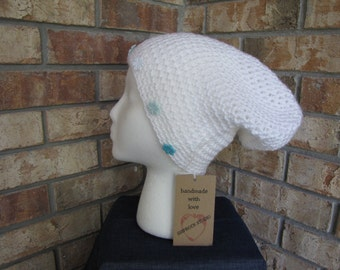 Slouchy Hat - Winter White with Snowflakes