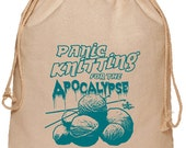 Panic Knitting for the Apocalypse Cotton Project bag Natural with Teal Ink