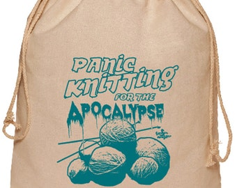 Wholesale 10 Panic Knitting for the Apocalypse Cotton Project bags Natural with Teal Ink