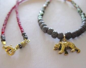 Bear Necklace, Totem Necklace, Children's Jewlery, Child's Necklace, Birthday Gift, Trade Beads, Brass Bear, Bear Pendant, Seed Beads, Kids